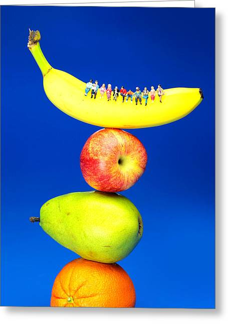 Creative People Greeting Cards - Sitting on fruits mountain little people on food Greeting Card by Paul Ge