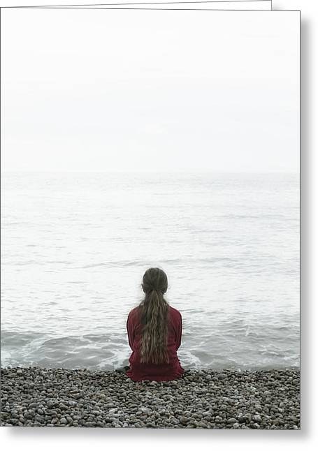 Cardigan Greeting Cards - Sitting On Pebble Beach Greeting Card by Joana Kruse