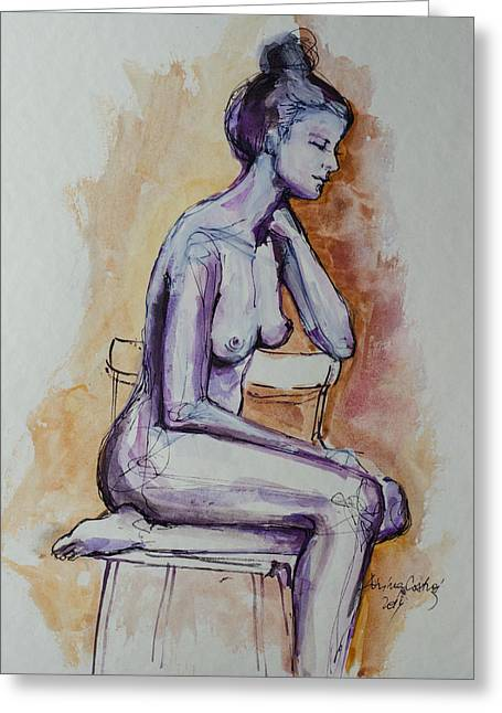 Woman Gift Greeting Cards - Sitting On The Chair Nude Greeting Card by Dorina  Costras