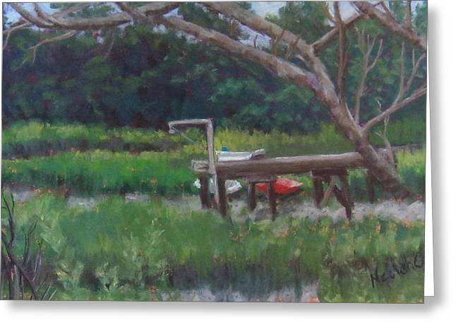 Dock Pastels Greeting Cards - Sitting on the Dock Greeting Card by Denise  Cox