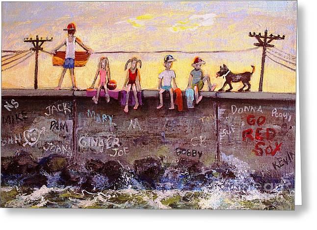 Duxbury Greeting Cards - Sitting on the Sea Wall Greeting Card by Rita Brown