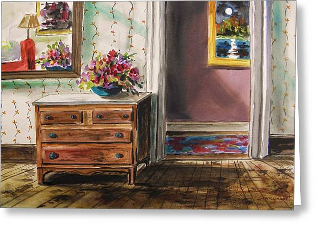 Interior Still Life Drawings Greeting Cards - Sitting Room Greeting Card by John  Williams