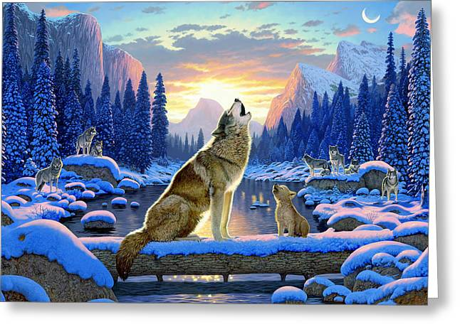 Wolf Moon Greeting Cards - Sitting Wolf And Cub Greeting Card by Chris Heitt