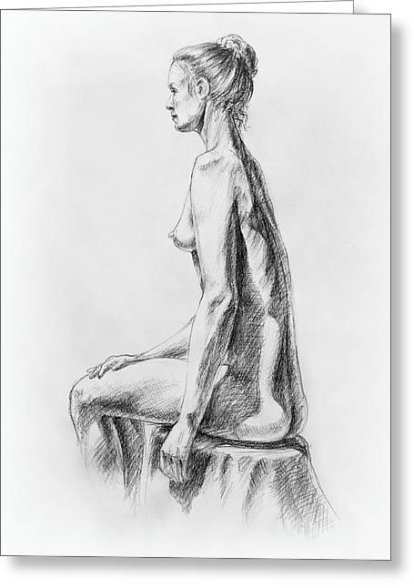 Realistic Drawings Greeting Cards - Sitting Woman Study Greeting Card by Irina Sztukowski