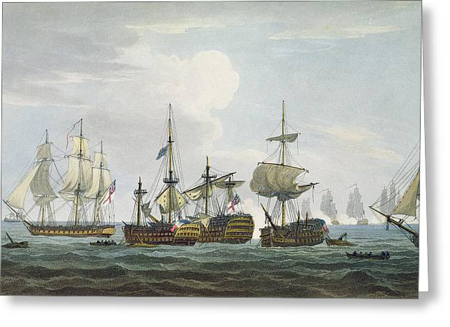 Battleships Greeting Cards - Situation Of Hms Temeraire At The Greeting Card by Thomas Whitcombe