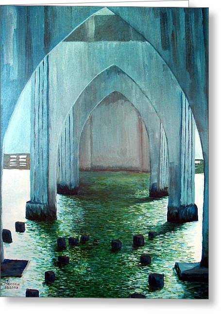 Florence Mixed Media Greeting Cards - Siuslaw River Bridge Greeting Card by Kenny Henson