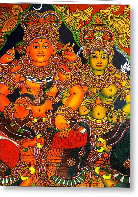 Hindu Goddess Greeting Cards - Siva And Parvathy Greeting Card by Arun Sivaprasad