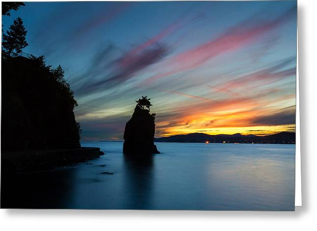 Stanley Park Greeting Cards - Siwash Rock at sunset in Vancouver B.C Greeting Card by Pierre Leclerc Photography