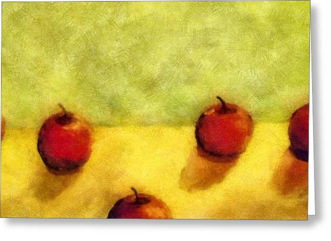 Tabletop Digital Art Greeting Cards - Six Apples Greeting Card by Michelle Calkins