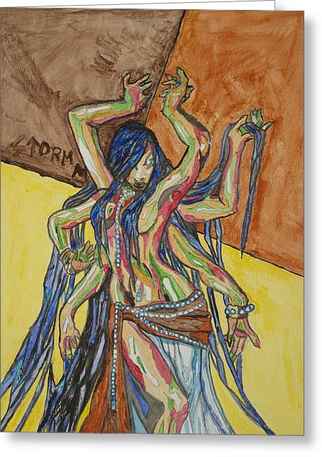 Best Sellers -  - Goddess Durga Greeting Cards - Six Armed Goddess Greeting Card by Stormm Bradshaw