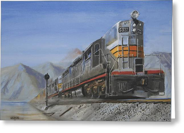 Diesel Locomotives Greeting Cards - Six Axles in the Desert Greeting Card by Christopher Jenkins