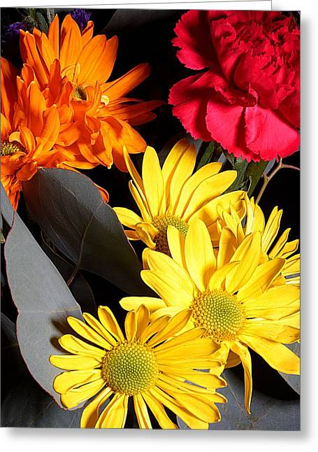 Bouquet Greeting Cards - Six Dasies and a Carnation Greeting Card by Joe Kozlowski