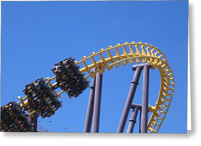 Bat Photographs Greeting Cards - Six Flags America - Batwing Roller Coaster - 12123 Greeting Card by DC Photographer