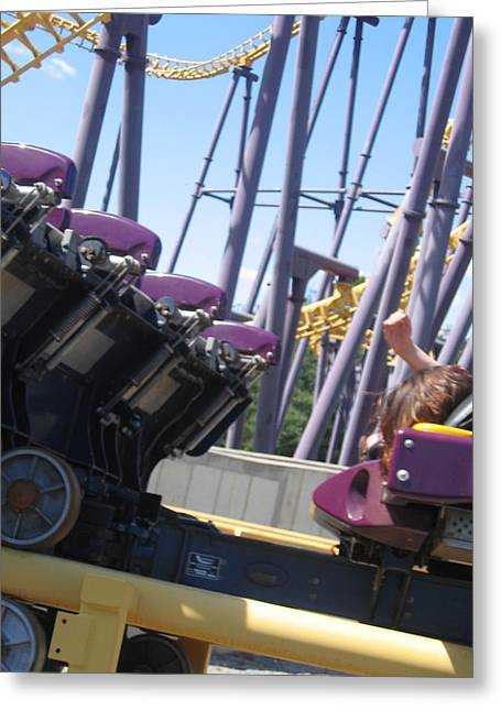 Bat Photographs Greeting Cards - Six Flags America - Batwing Roller Coaster - 12124 Greeting Card by DC Photographer