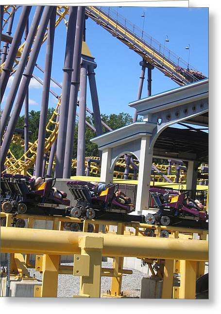 Bat Photographs Greeting Cards - Six Flags America - Batwing Roller Coaster - 12125 Greeting Card by DC Photographer