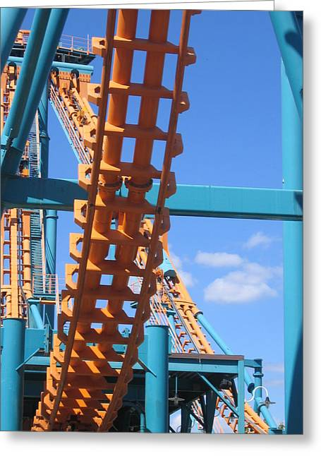 Two Greeting Cards - Six Flags America - Two-Face Roller Coaster - 12121 Greeting Card by DC Photographer