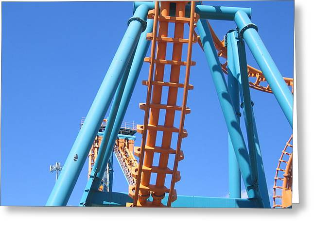 Two Greeting Cards - Six Flags America - Two-Face Roller Coaster - 12122 Greeting Card by DC Photographer