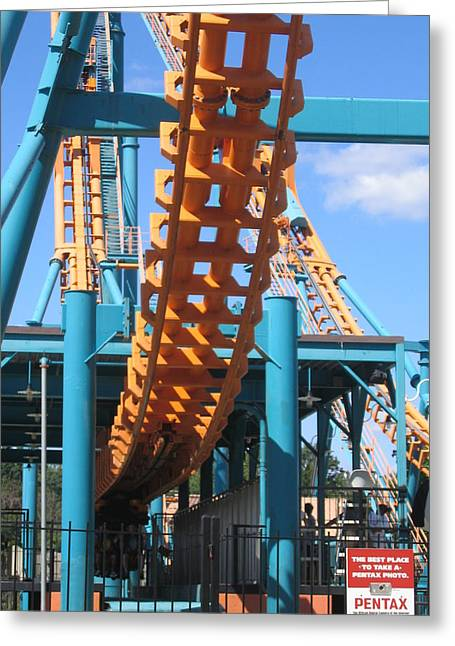 Face Photographs Greeting Cards - Six Flags America - Two-Face Roller Coaster - 12123 Greeting Card by DC Photographer