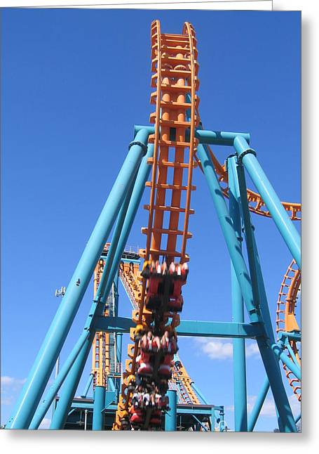 Two Greeting Cards - Six Flags America - Two-Face Roller Coaster - 12124 Greeting Card by DC Photographer