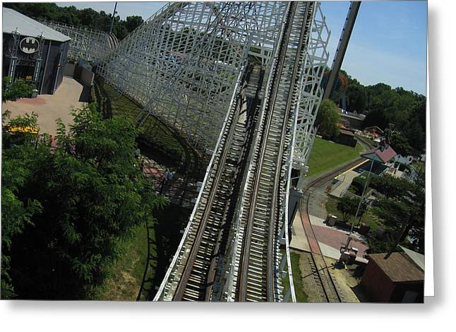 One Greeting Cards - Six Flags America - Wild One Roller Coaster - 12129 Greeting Card by DC Photographer