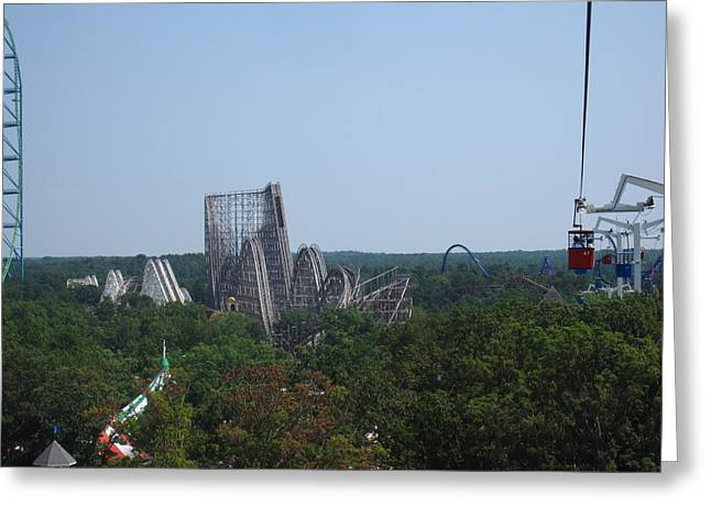 Flag Greeting Cards - Six Flags Great Adventure - 12124 Greeting Card by DC Photographer