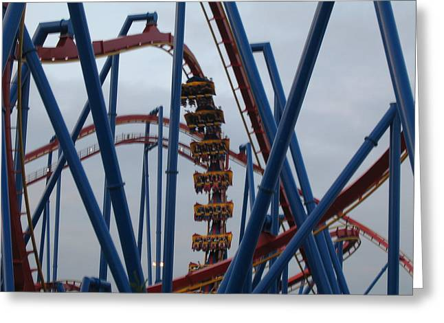 Medusa Greeting Cards - Six Flags Great Adventure - Medusa Roller Coaster - 12125 Greeting Card by DC Photographer