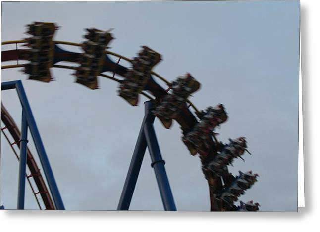 Screaming Greeting Cards - Six Flags Great Adventure - Medusa Roller Coaster - 12126 Greeting Card by DC Photographer
