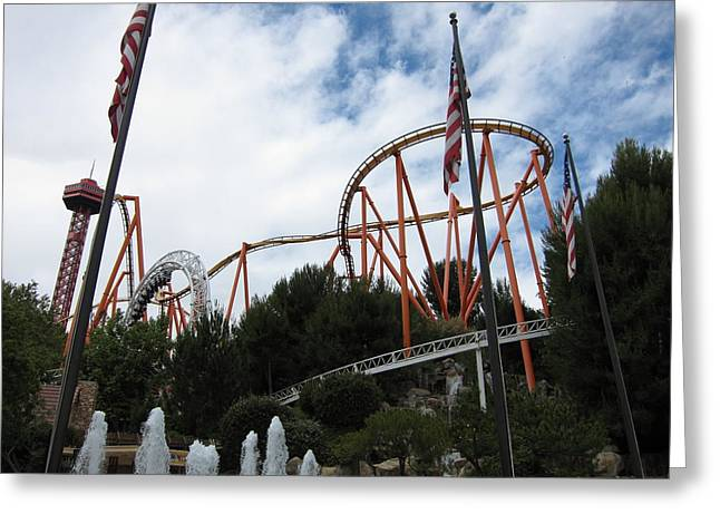 Flag Photographs Greeting Cards - Six Flags Magic Mountain - 12123 Greeting Card by DC Photographer