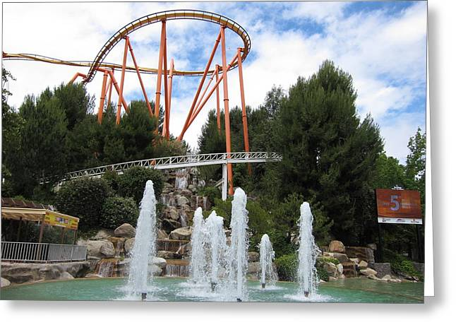 Rollercoaster Photographs Greeting Cards - Six Flags Magic Mountain - 12124 Greeting Card by DC Photographer