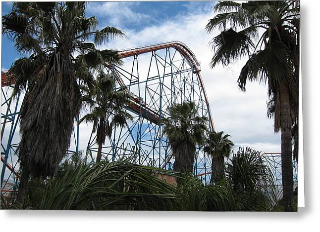 Mountains Photographs Greeting Cards - Six Flags Magic Mountain - 12129 Greeting Card by DC Photographer