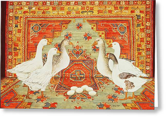 Persian Greeting Cards - Six Geese A-laying Greeting Card by Ditz