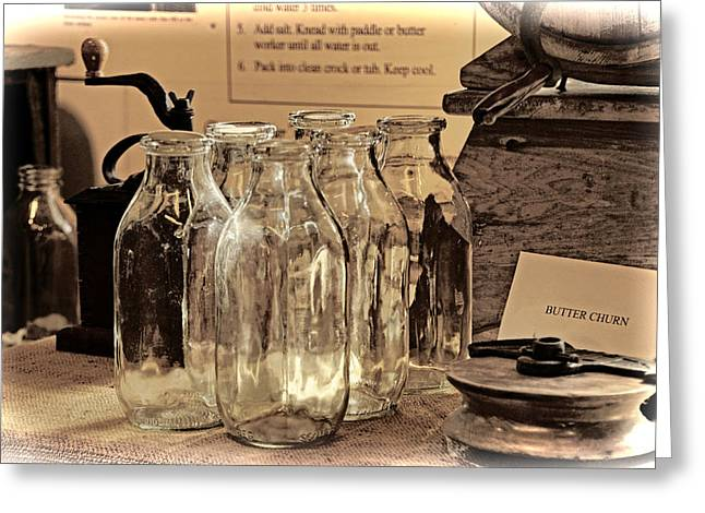 Bottle Of Milk Greeting Cards - Six Milk Bottles Greeting Card by Elaine Walsh