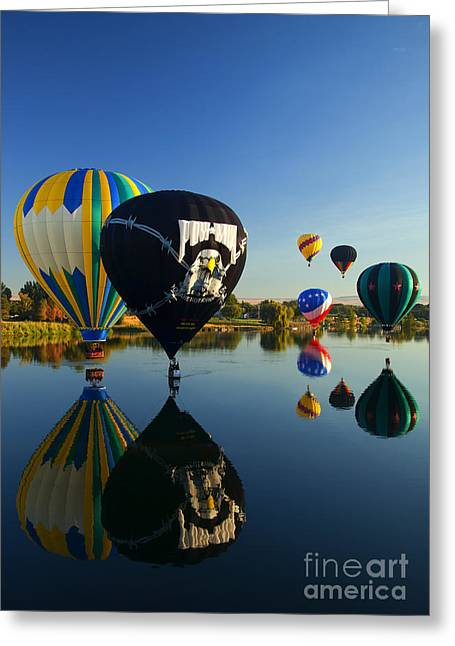 Hot-air Balloons Greeting Cards - Six on the Pond Greeting Card by Mike  Dawson