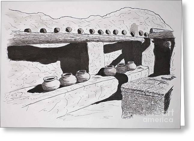 Pueblo Drawings Greeting Cards - Six Pots at Tumacacori Greeting Card by Judy Sprague