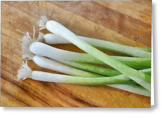 Edible Digital Art Greeting Cards - Six Scallions Greeting Card by Michelle Calkins