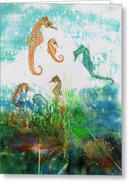 Gyotaku Greeting Cards - Six Seahorses In A Sea Garden Greeting Card by Nancy Gorr