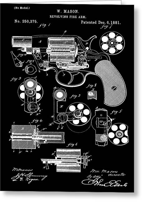 Samuel Digital Art Greeting Cards - Six Shooter Patent Greeting Card by Dan Sproul