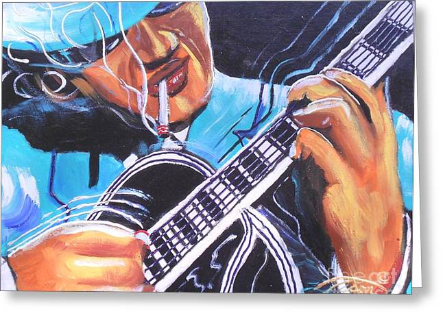 Blackart Greeting Cards - Six Strings Willie Greeting Card by Jonathan Tyson