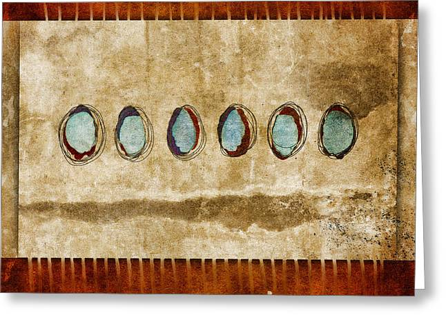 Celestial Digital Greeting Cards - Six Turquoise Moons Greeting Card by Carol Leigh