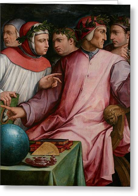Conversations Greeting Cards - Six Tuscan Poets Greeting Card by Giorgio Vasari