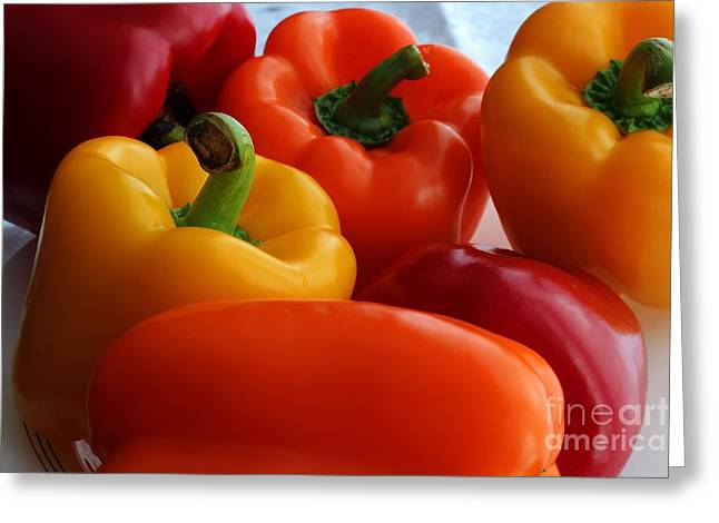 Stir-fry Greeting Cards - Six Vibrant Peppers - Food - Vegetables Greeting Card by Barbara Griffin