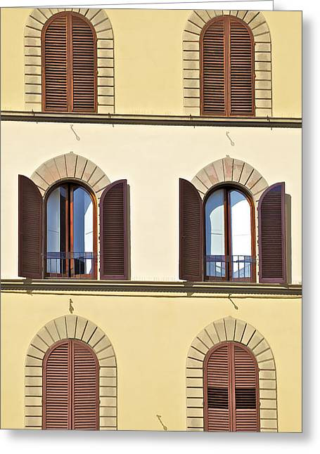 Six Windows Of Florence Greeting Card by David Letts
