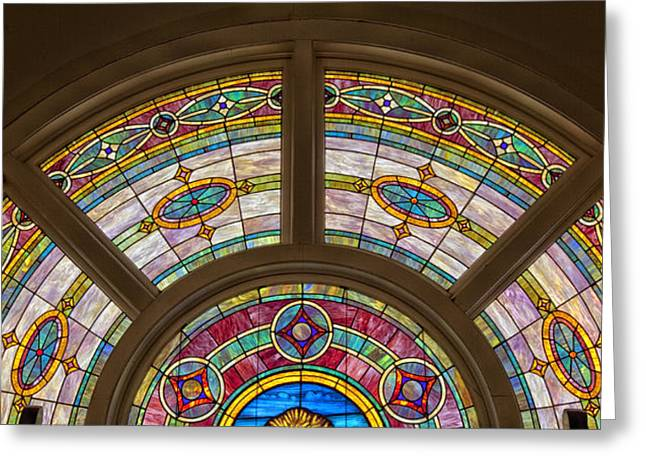 Faith Glass Greeting Cards - Sixteenth Street Baptist Church Stained Glass - Birmingham Alabama Greeting Card by Mountain Dreams