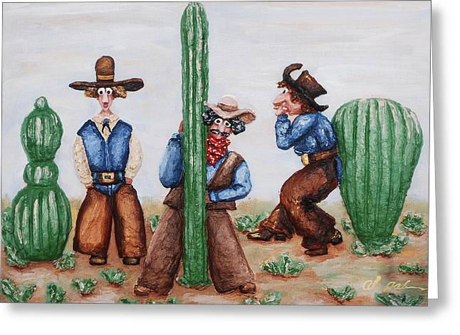 Desert Reliefs Greeting Cards - Sizing Up Your Cowboy  A Cactus Comparison Greeting Card by Alison  Galvan