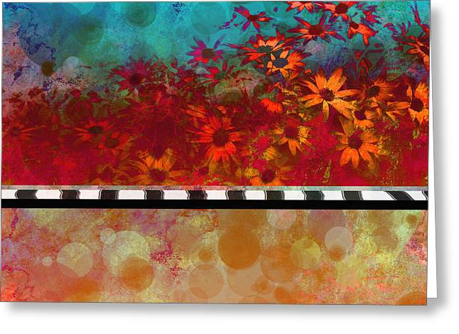 Sizzle abstract floral art Greeting Card by Ann Powell