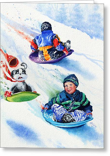 Tobogganing Greeting Cards - Sizzling Saucers Greeting Card by Hanne Lore Koehler