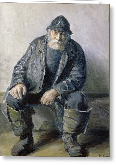 Boots Greeting Cards - Skagen Fisherman Greeting Card by Michael Peter Ancher