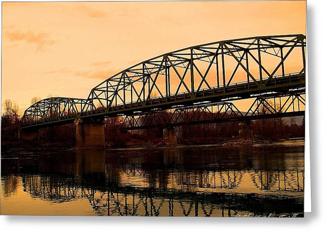 Christopher Fridley Greeting Cards - Skagit River Bridge Greeting Card by Christopher Fridley