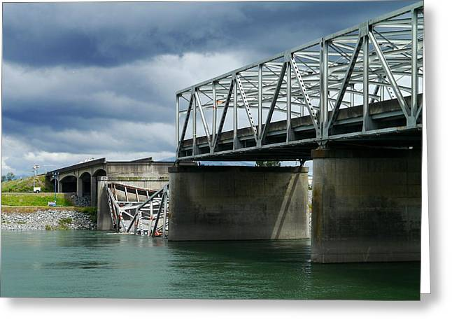 Christopher Fridley Greeting Cards - Skagit River Bridge Disaster Greeting Card by Christopher Fridley