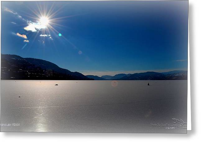 Penticton Greeting Cards - Skaha Lake FROZEN 02-06-2014 Greeting Card by Guy Hoffman